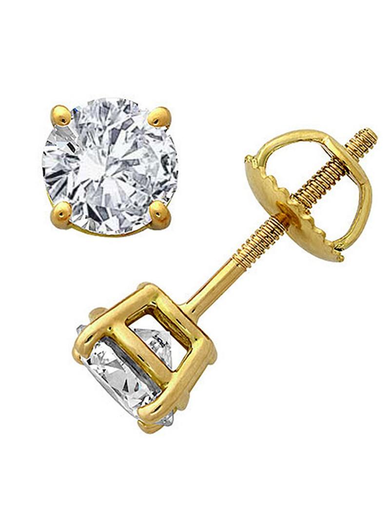 genuine round diamond 14k yellow gold stud earrings. Black Bedroom Furniture Sets. Home Design Ideas