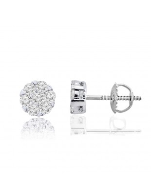 0.50ct Round Diamond 10k white Gold 1/2ct Cluster Flower Stud Earrings Screw Back