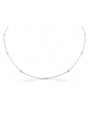 "0.25ct Bezel Set Diamond By The Yard 14k White Gold Station Necklace 16""-17""-18"""