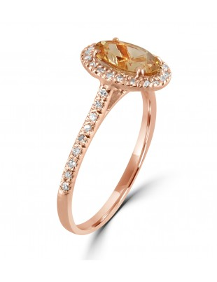 1.70ct Diamond & Oval Morganite 14k Rose Gold Halo Solitaire Engagement Ring