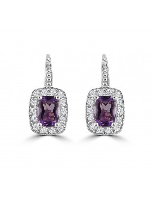 1.70ct White Topaz & Amethyst 14k White Gold Leverback Drop Rectangle Earrings