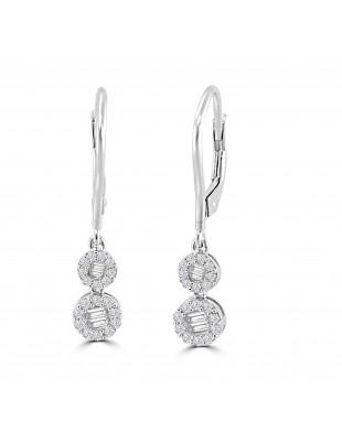 1/2ct Round & Baguette Diamond 10k Gold Halo Leverback Dangle Earrings