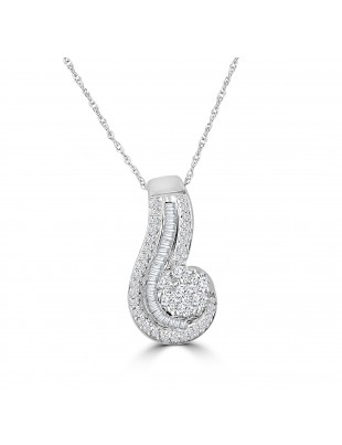 1/2ct Round & Baguette Diamond 10k White Gold Cluster Swirl Pendant Necklace