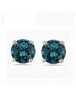 0.50ct Blue Round Natural Diamond 14k White Gold Stud Earrings 1/2ct Screw Backs
