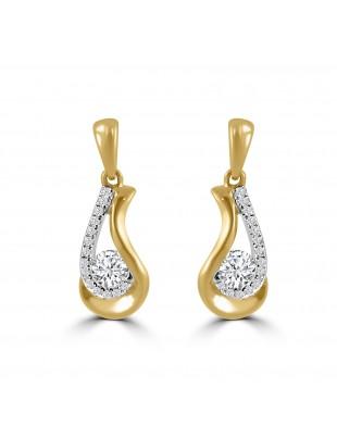 1/2ct Round Diamond 14k Yellow Gold Dangle Drop Teardrop Earrings