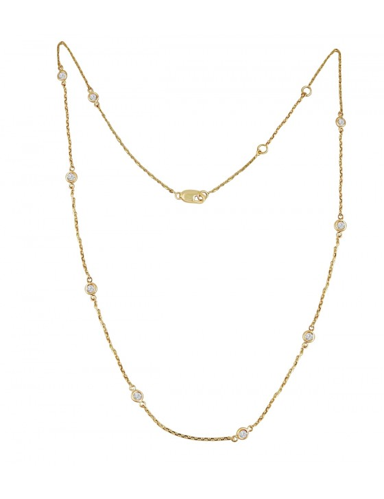 "1/2ct Bezel Set Diamond By The Yard 14k Yellow Gold Station Necklace 16""-17""-18"""