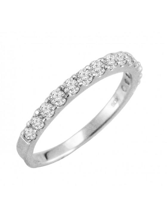 1/2ct Round Diamond 14k White Gold Half Eternity Wedding Anniversary Band Ring