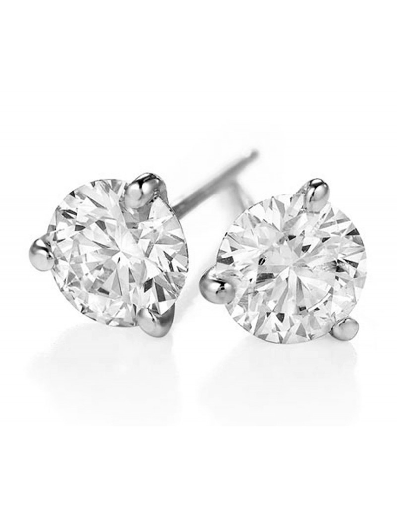 diamond gold stud prong cut screw ct k pin round back white setting martini earrings