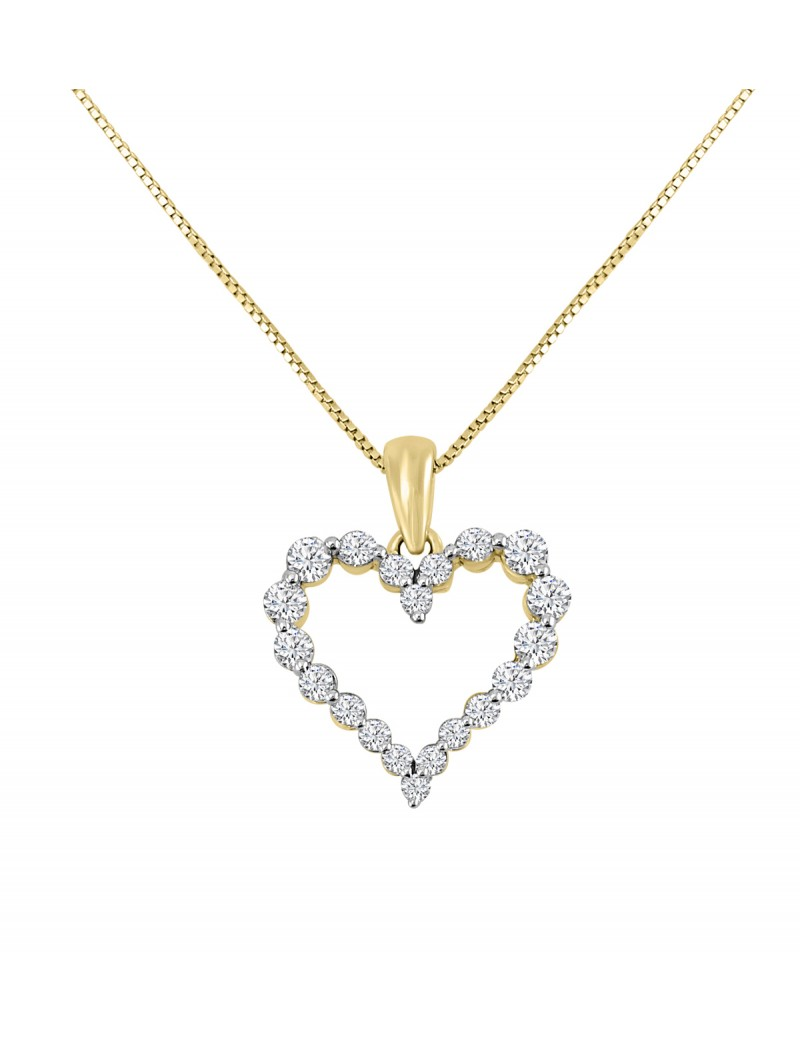 12ct floating diamond 14k yellow gold shared prong heart pendant 12ct floating diamond 14k yellow gold shared prong heart pendant necklace aloadofball Images