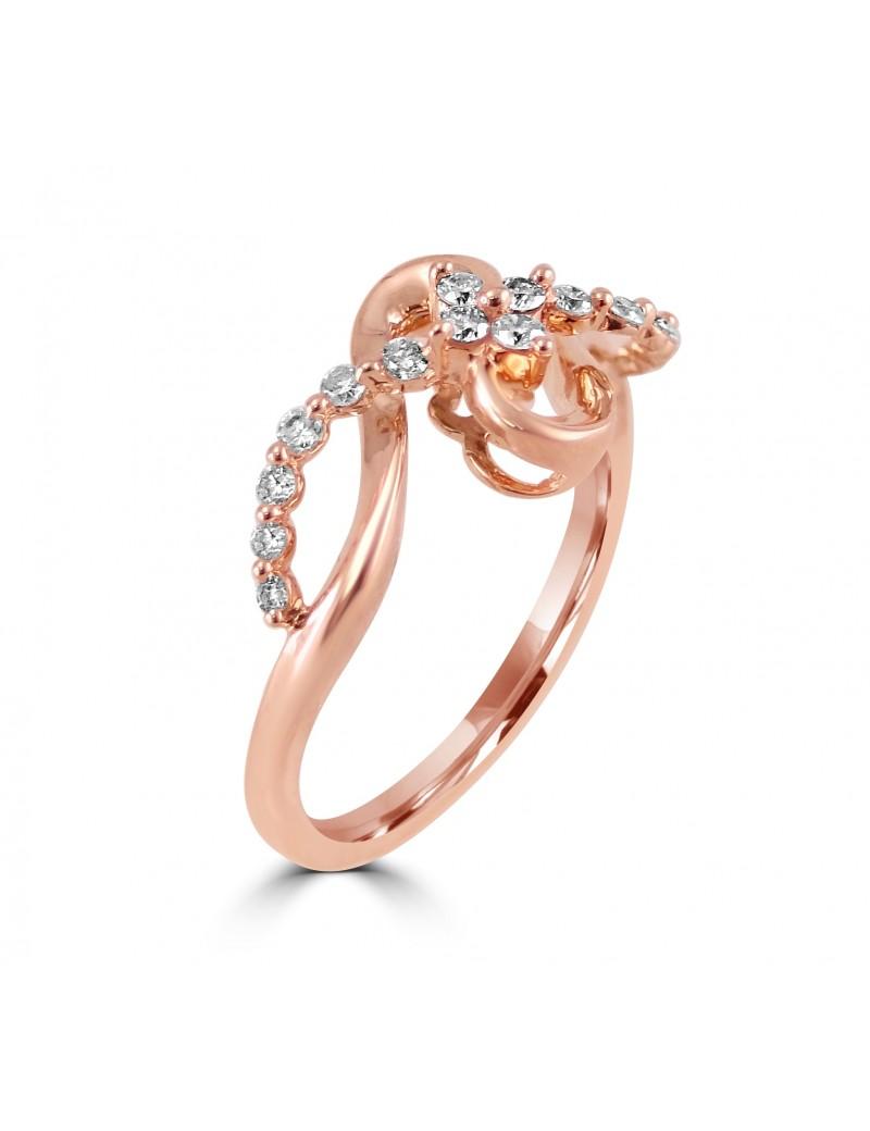 Right Ring 14ct Round Diamond Hand 10k Rose Gold Swirl 5L4ARj3