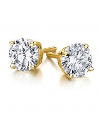 1.00ct Round Brilliant Diamond 14k Yellow Gold Stud Earrings Screw Backs