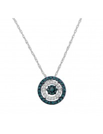 0.33ct Blue & White Diamond 10k White Gold Dancing Diamond Pendant Necklace
