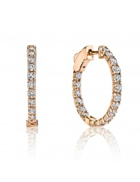 1.00ct G/SI Round Diamond 14K Rose Gold Oval Prong-Set Hoop Earrings Patented Lock