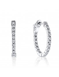 1.00 Cttw Round Diamond 14K White Gold Oval Prong-Set Hoop Earrings Patented Lock