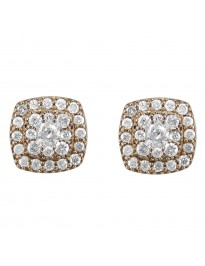 0.70Ct Diamond 14K Yellow Gold Square Jacket stud Earrings
