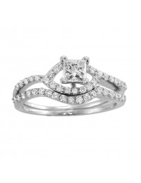 0.72ct Princess & Round Diamond 14K Gold Engagement Wedding Bridal Set Rings
