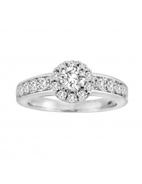 1.00ct Round Natural Diamond 14k White Gold Halo Solitaire Engagement Ring