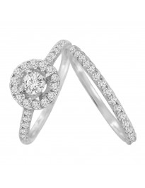 0.80ct Halo Solitaire Diamond 14k White Gold Bridal Set Engagement Wedding Rings