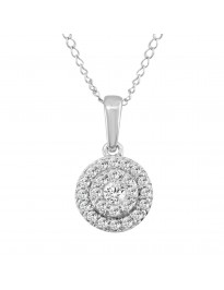 1/3ct Diamond 14k White Gold Double Halo Round Pendant Necklace