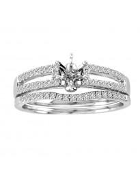 Diamond 14K White Gold Engagement Setting & Wedding Bridal Set Ring