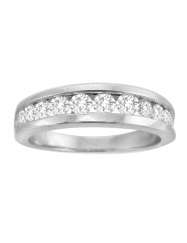 1.00ct Channel Set Round Diamond 14k Gold Men's Wedding Anniversary Band Ring