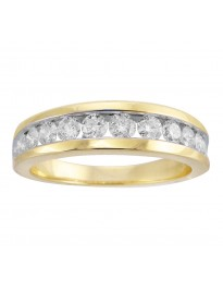 1.00ct Channel Set Round Diamond 14k Yellow Gold Wedding Anniversary Men's Band Ring