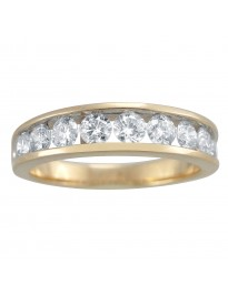 1.00ct Channel Set Round Diamond 14K Yellow Gold Wedding Band Ring