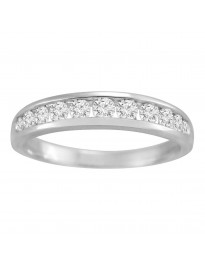 14k White Gold 0.50ct Round Diamond Channel Set Wedding Anniversary Band 1/2ct