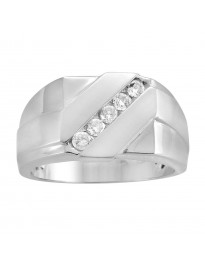 Men's 0.33ct Channel Set Diamond 10k Gold Anniversary Wedding Band Ring 12mm