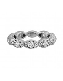 3/4ct Diamond 14k White Gold Eternity Art Deco Milgrain Marquise Band