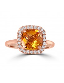 1.85ct Cushion Citrine & Pave Diamond 14k Rose Gold Halo Solitaire Ring