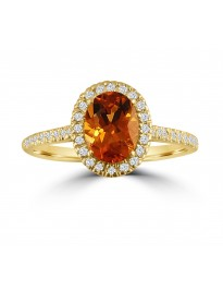 1.70ct Diamond & Oval Citrine 14k Yellow Gold Halo Solitaire Engagement Ring