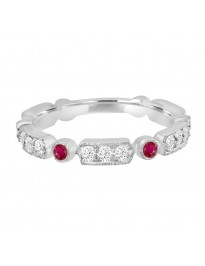 0.68ct Diamond & Ruby 14k White Gold Stackable Milgrain Band Ring