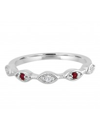 Diamond & Ruby 10k White Gold Marquise Shape Milgrain Wedding Band Ring