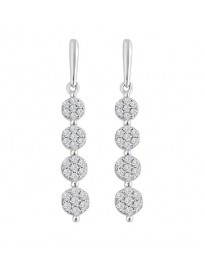 1.00ct Round Diamond 10k White Gold 4 Cluster Flower Drop Dangle Earrings