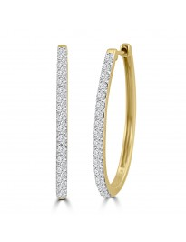 1.00ct Round Diamond 14k Yellow Gold Oval Prong-Set Hoop Earrings