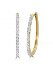1.00ct Round Diamond 14k Yellow Gold Oval Prong-Set Hoop Earrings