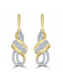 1/5ct Round Diamond 10k Yellow Gold Dangle Drop Earrings