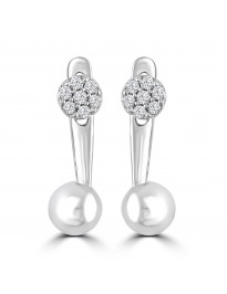 1/10ct Round Diamond 10k White Gold Front Back Cluster Flower Ball Earrings