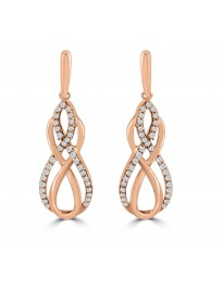 1/2ct Round Diamond 10k Rose Gold Dangle Drop Infinity Earrings