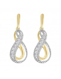 1/3ct Round Diamond 10k TT Gold Channel Set Infinity Milgrain Dangle Earrings