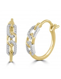 1/10ct Round Diamond 10k Two Tone Gold Petite Latch Back Hoop Earrings