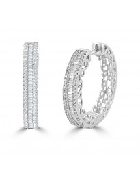 3/4ct Baguette & Round Diamond 10k White Gold Channel Set Hoop Earrings