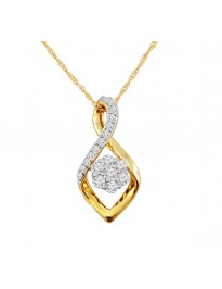 3/8ct Round Cluster Diamond 10k Yellow Gold Twisted Pendant Necklace