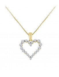 1/2ct Floating Diamond 14k Yellow Gold Shared Prong Heart Pendant Necklace