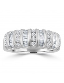 1/2ct Round & Baguette Diamond 14k White Gold Milgrain Fancy Band Ring