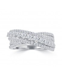 1.00ct Round Diamond 14k White Gold Crossover Fancy Anniversary Band Ring