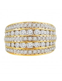 1.00ct Round Diamond 10k Yellow Gold 5 Row Dome Band Ring 6.5 grams