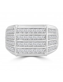 1.00ct 4 Row Round Diamond 10k White Gold Anniversary Men's Band Ring 14mm