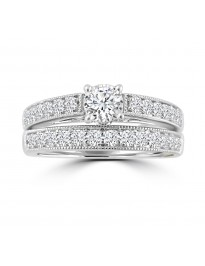 1.00ct Diamond 14k Gold Milgrain Engagement & Wedding Band Bridal Set Rings